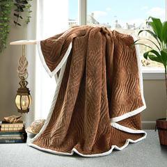 花曼庭绒品会三层带导电丝法兰绒悠闲复合毯 可带枕套18元/对 驼色