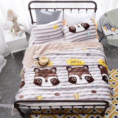 花曼庭绒品会印花三层带导法兰绒悠闲复合毯 可带枕套18元/对 爱狸