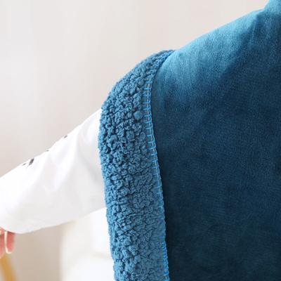出口北欧品质 小毛毯毯子 护膝斗篷披肩毯 懒人毯办公室空调 双层加厚 60*170 午夜蓝