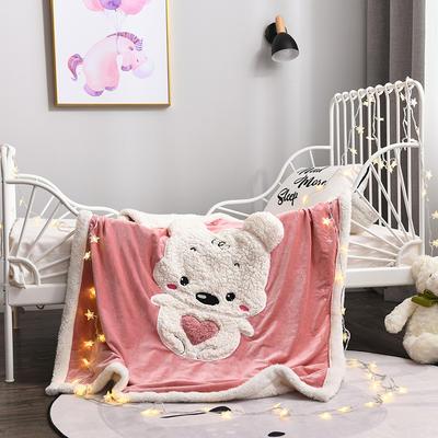 2018新款绵羊绒刺绣儿童毯 120cmx160cm 抱抱宝贝熊 粉