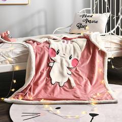 2018新款绵羊绒刺绣儿童毯 100cmx120cm 咪咪呆萌猫咪