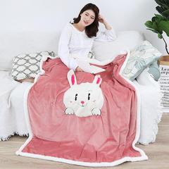 2018新款绵羊绒刺绣懒人毯 100cmx120cm 爱爱兔