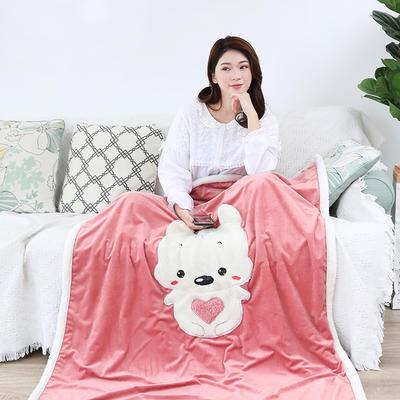 2018新款绵羊绒刺绣懒人毯 100cmx120cm 抱抱宝贝熊