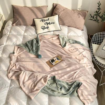2018新款法兰绒加厚ins风兔兔球单人双面加绒撞色毛毯 150cmx200cm 脏脏粉