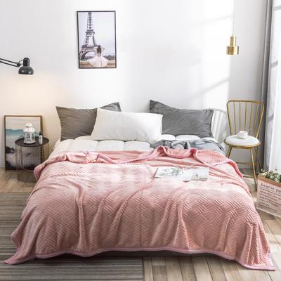 2019新款高端定制立体雕花双层法兰绒毯 1.5*2米 少女粉