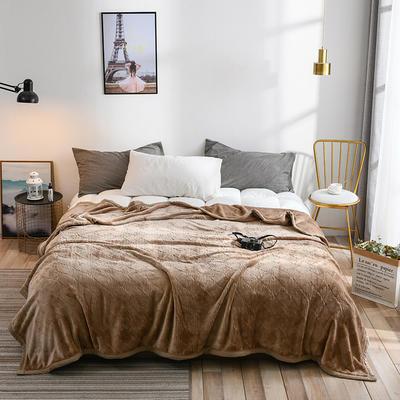 2019新款高端定制立体雕花双层法兰绒毯 1.5*2米 驼色
