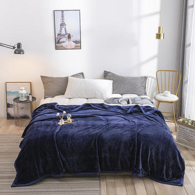 2019新款私人定制立体雕花双层法兰绒毯 150*200 藏蓝