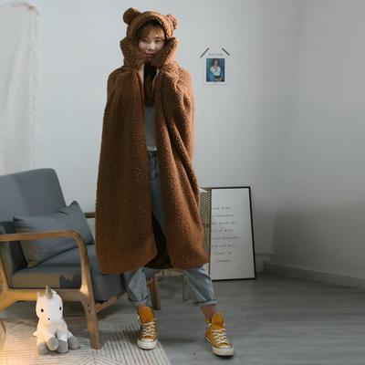 2019新款连帽斗篷盖毯 斗篷110*145帽子32公分 咖啡小熊