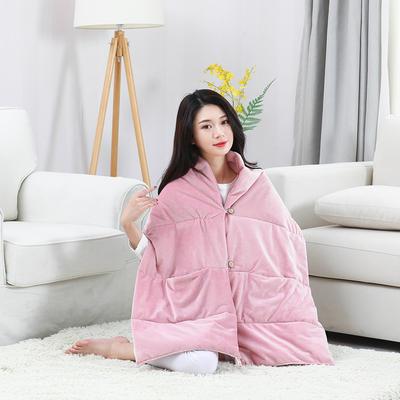 2019新款出口欧美品质保暖护肩懒人毯 38*190 淑女粉