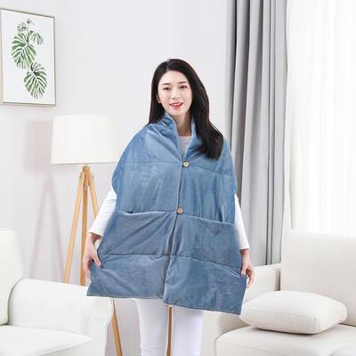 2019新款出口欧美品质保暖护肩懒人毯 38*190 贵族兰