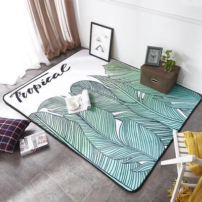 2018年新款-ins时尚大版数码印花法莱绒地垫 150*200cm 清新绿叶