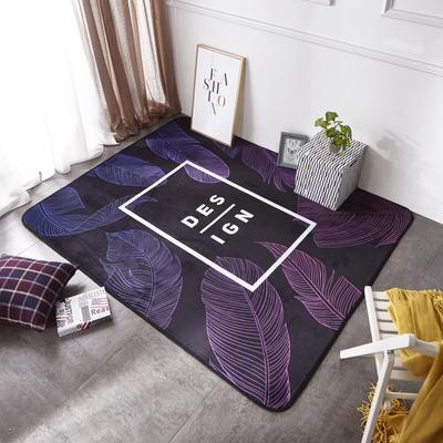 2018年新款-ins时尚大版数码印花法莱绒地垫 150*200cm 清新紫叶