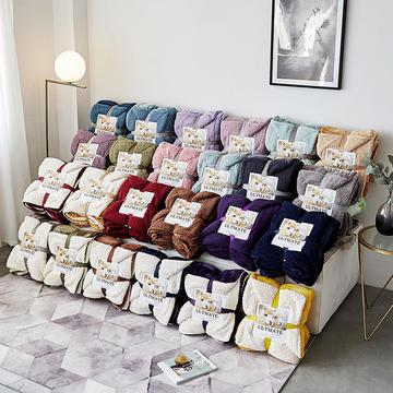 2018新款-羊羔绒毯子 150*200cm 安娜紫