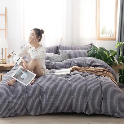2019新款无印良品牛奶绒四件套 1.2m床单款三件套 条纹紫