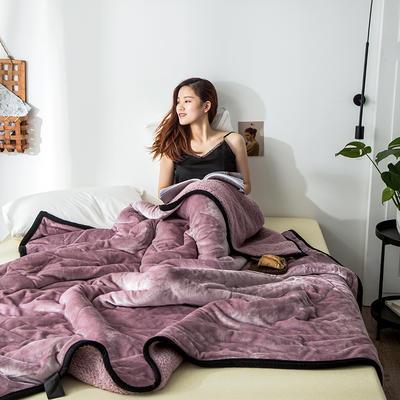 2019新款牛奶绒三层复合毯 150cmx200cm 藕粉(牛奶绒+羊羔绒)