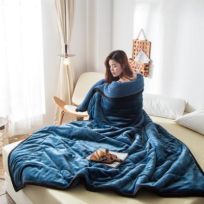 2019新款牛奶绒三层复合毯 150cmx200cm 午夜蓝(牛奶绒+羊羔绒)