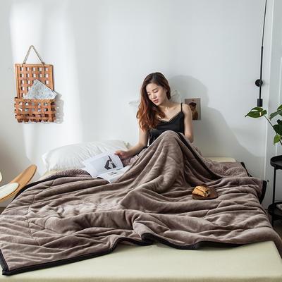 2019新款牛奶绒三层复合毯 150cmx200cm 银灰(牛奶绒+羊羔绒)