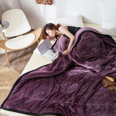 2019新款牛奶绒三层复合毯 150cmx200cm 紫罗兰(牛奶绒+羊羔绒)