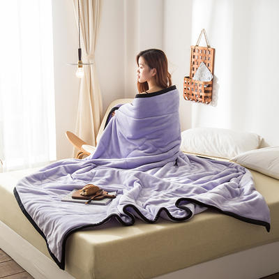 2019新款牛奶绒三层复合毯 150cmx200cm 安娜紫(双面牛奶绒)