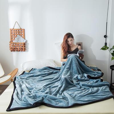 2019新款牛奶绒三层复合毯 150cmx200cm 孔雀蓝(双面牛奶绒)