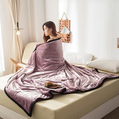 2019新款牛奶绒三层复合毯 150cmx200cm 藕粉(双面牛奶绒)