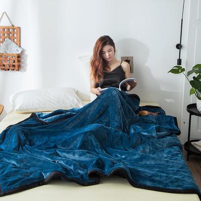 2019新款牛奶绒三层复合毯 150cmx200cm 午夜蓝(双面牛奶绒)