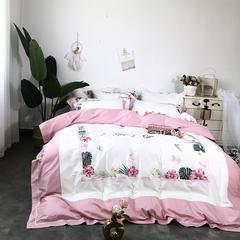 60S绣花系列四件套(西西里-粉) 1.5m-1.8m(床) 西西里-粉
