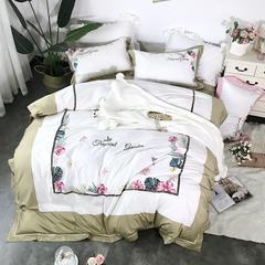 60S绣花系列四件套(西西里-气质黄) 1.5m-1.8m(床) 西西里-气质黄