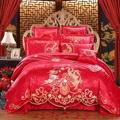 玉雅家纺婚庆多件套  幸福龙凤四件套多件套 标准(1.5m-1.8m床) 四件套(床单式)