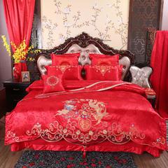 玉雅家纺婚庆多件套 215系列幸福龙凤 标准(1.5m-1.8m床) 八件套(床盖式)