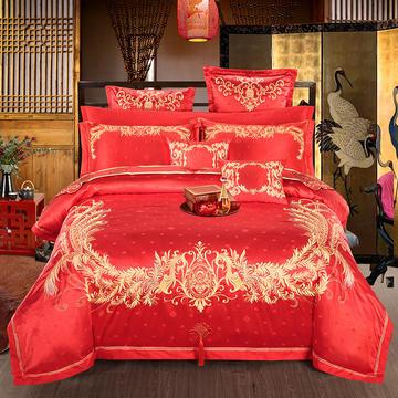 玉雅家纺新款婚庆四件套六八十件套绣花 一世情缘 标准(1.5m-1.8m床) 四件套(床单式)