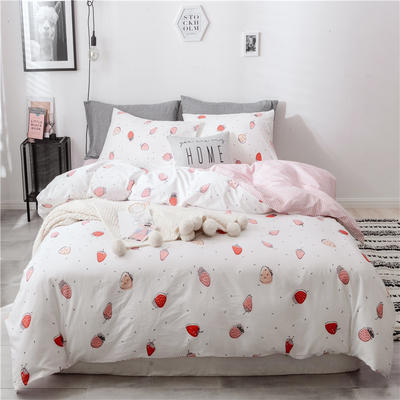 2019新款-13070全棉四件套(床单款 ) 1.5m(5英尺)床 草莓屋-粉