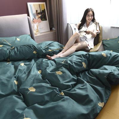 2019新款-全棉轻奢系列四件套床单款 四件套2.0m(6.6英尺)床 柔杏-绿