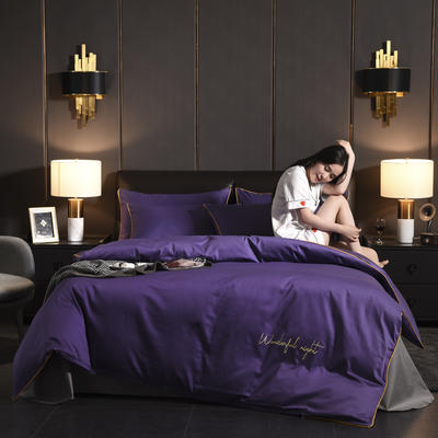 2019新款-60s长绒棉四件套 床单款1.5m(5英尺)床 11诱惑紫