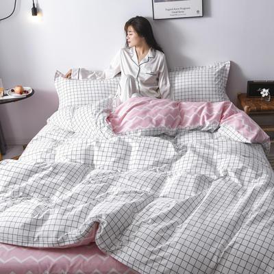 2020新款-全棉13070四件套(床单款) 床单款三件套1.2m(4英尺)床 白格