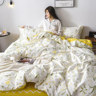 2019新款-全棉13370四件套(床单款) 床单款三件套1.2m(4英尺)床 花海
