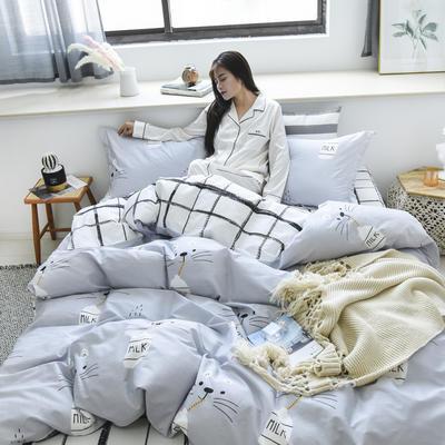2019新款-全棉13370四件套(床单款) 床单款四件套1.5m(5英尺)床 牛奶猫