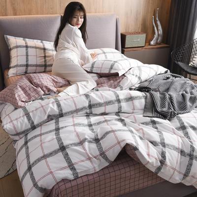 2019新款-全棉13370四件套(床笠款) 床笠款2.0m(6.6英尺)床 铅笔格