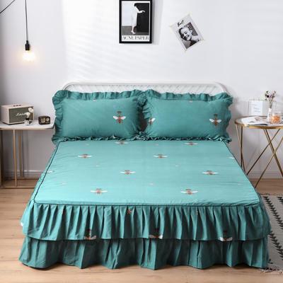 2019新款-全棉磨毛單床裙 120cmx200x45cm 愛的星晴-綠