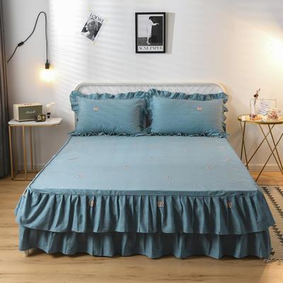 2019新款-全棉磨毛单床裙 120cmx200x45cm 最佳主角-蓝