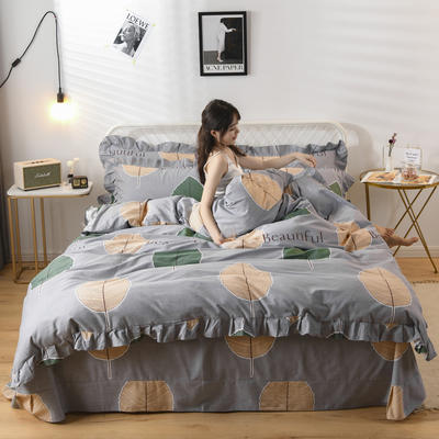 2019新款-全棉磨毛四件套 床裙款1.5m(5英尺)床 维曼花叶-灰