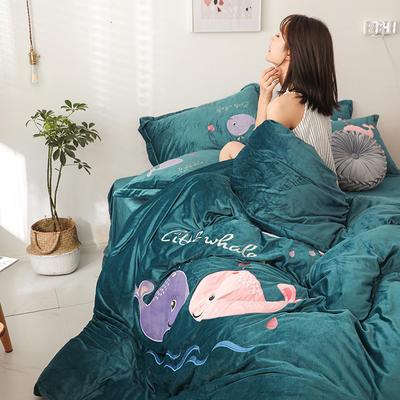 2019新款-宝宝绒四件套 床单款1.5m床-1.8m床 相亲相爱 深墨绿