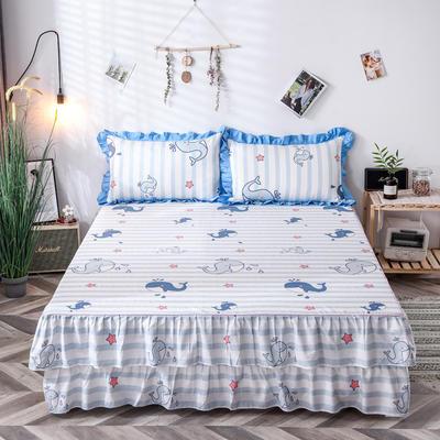 2020新款-全棉花边单床裙 150cmx200cm 海世界