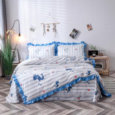 2020新款-全棉花边床单四件套 床单款四件套1.5m(5英尺)床 海世界