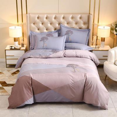 2020新款-全棉大版花四件套第一批 床单款四件套1.5m(5英尺)床 城市之旅-豆沙