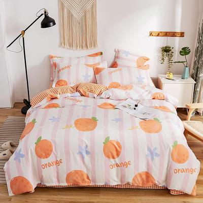 2020新款-全棉13370喷气面料四件套第一批 床单款三件套1.2m(4英尺)床 缤纷橙