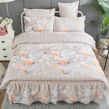 加厚款床裙四件套(新花型) 1.2m床裙款 甜蜜花海