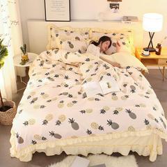 2018ins网红公主风针织棉四件套(硬包装) 1.2-1.35m 床 菠萝狂欢