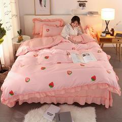 2018ins网红公主风针织棉四件套(硬包装) 1.2-1.35m 床 草莓盛宴