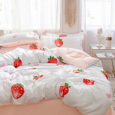 2019新款印花水洗真丝四件套 1.2m(4英尺)床 草莓甜心
